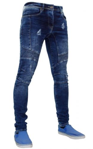 Mens idenim Skinny Slim Tapered Fit Ripped Biker Style Blue Stretchable Denim Jeans
